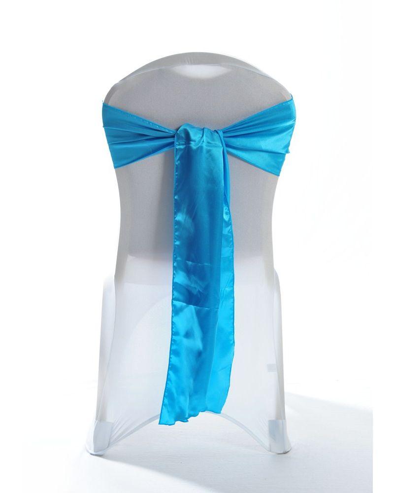 Turquoise Satin Wedding Chair Cover Sash