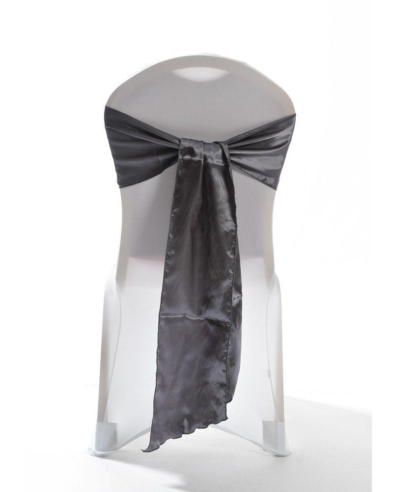 "Pewter Satin Wedding Chair Cover Sash 8"" x 108"""