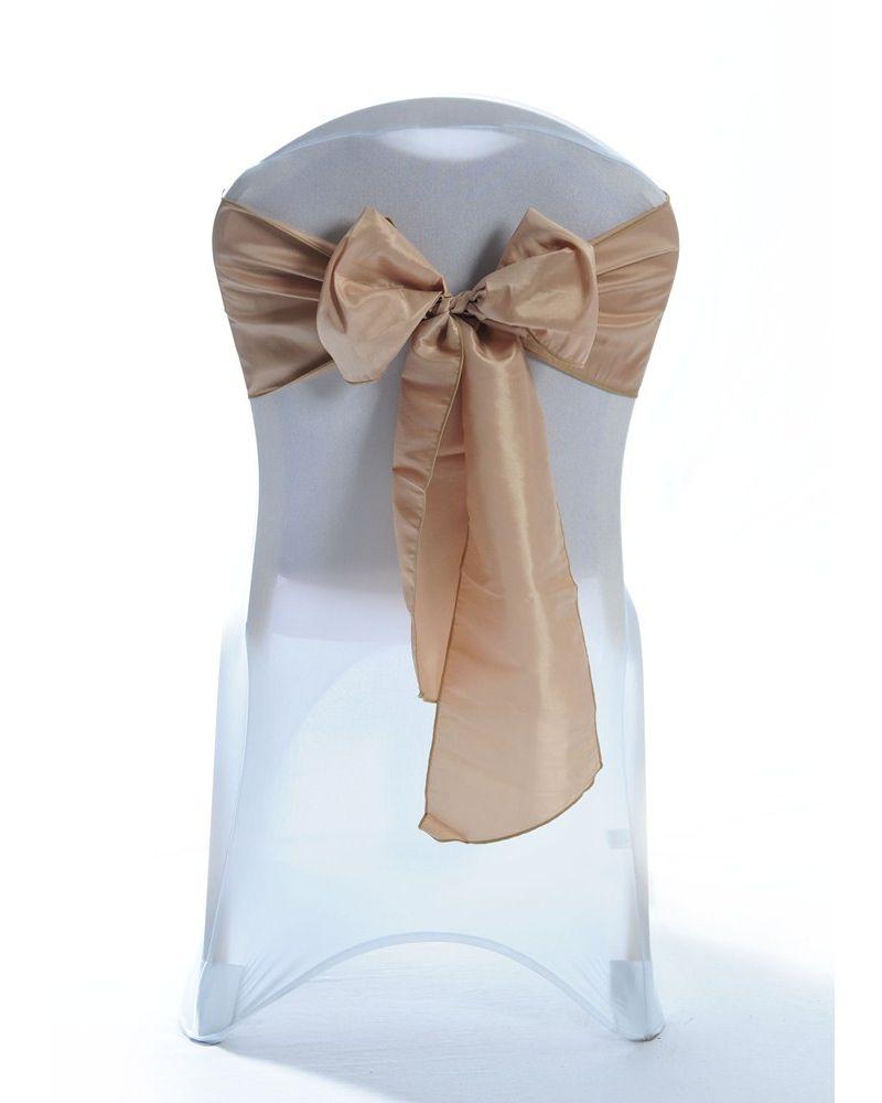 "Camel Taffeta Wedding Chair Cover Sashes 8"" x 108"""