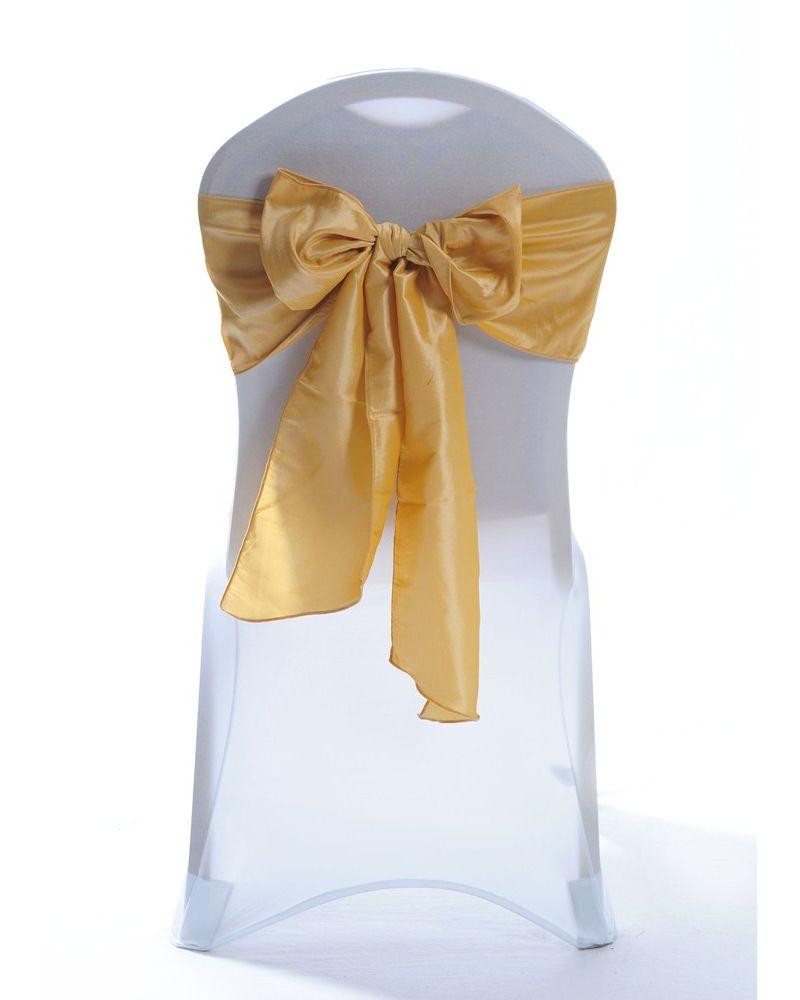 Light Gold Taffeta Wedding Chair Cover Sashes