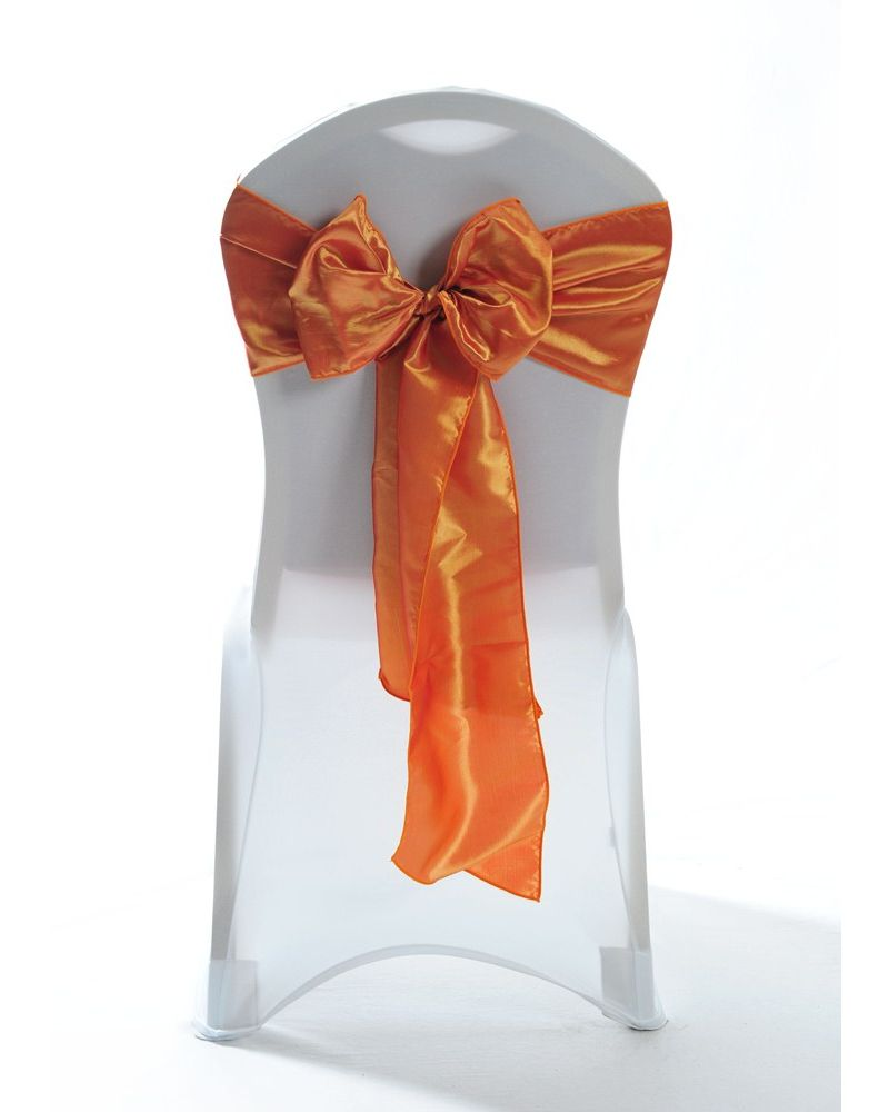 Red/Gold Taffeta Wedding Chair Cover Sashes