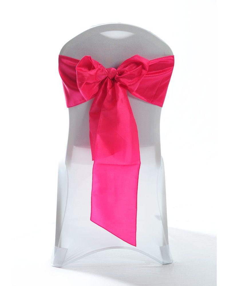 "Hot Pink Taffeta Wedding Chair Cover Sashes 8"" x 108"""
