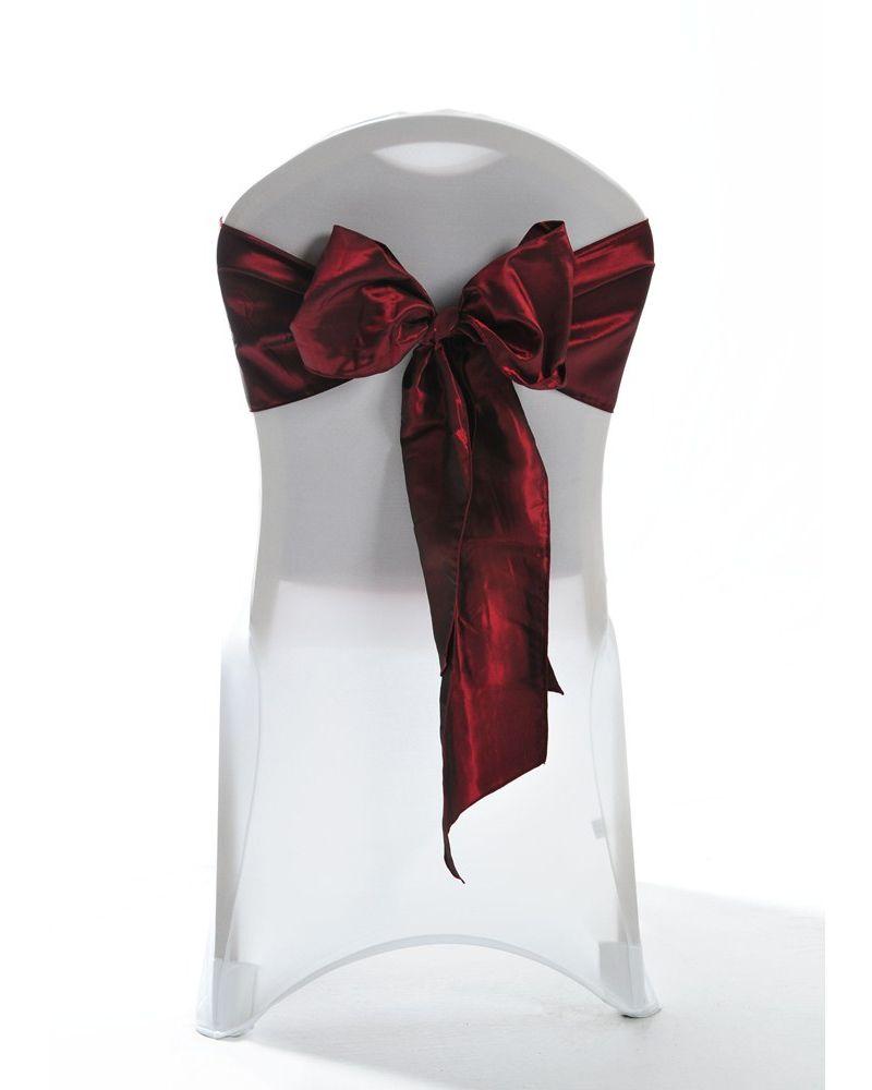 """Garnet (Deep Red) Taffeta Wedding Chair Cover Sashes 8"""" x 108"""""""