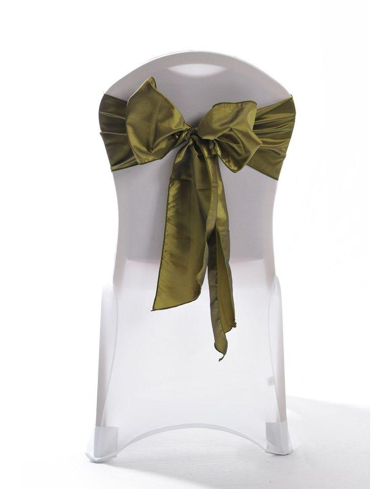 Moss Green Taffeta Wedding Chair Cover Sashes