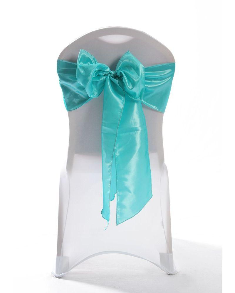 "Aqua Green Taffeta Wedding Chair Cover Sashes 8"" x 108"""