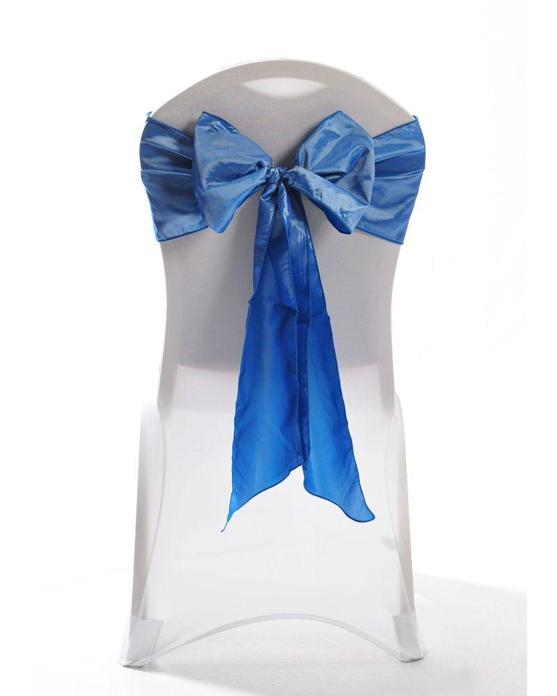 """Blue Taffeta Wedding Chair Cover Sashes 8"""" x 108"""""""