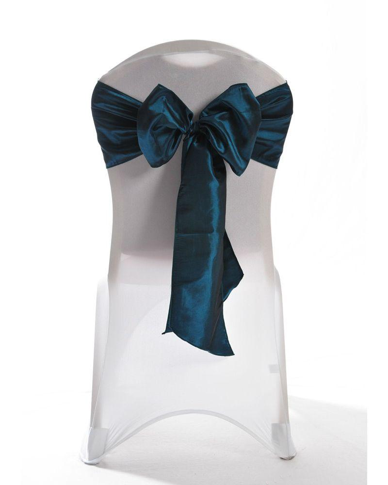 """Teal/Brown (Dark Teal) Taffeta Wedding Chair Cover Sashes 8"""" x 108"""""""