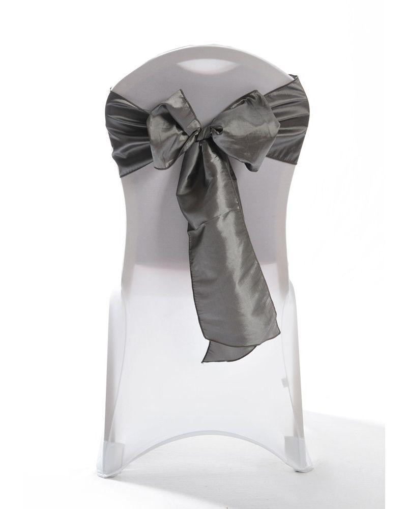 "Platinum Silver Taffeta Wedding Chair Cover Sashes 8"" x 108"""