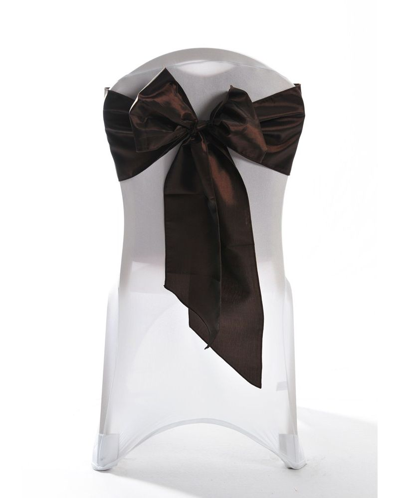 Ultra Brown Taffeta Wedding Chair Cover Sashes