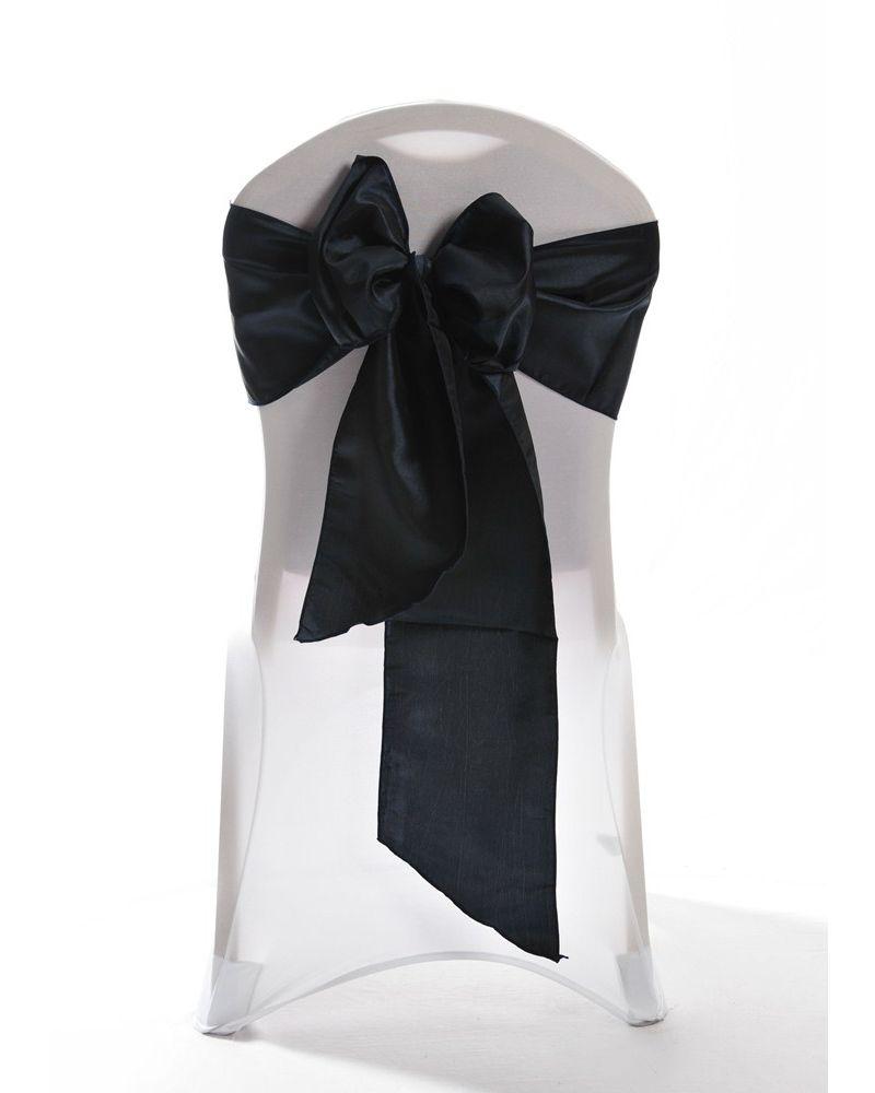 "Navy Blue Taffeta Wedding Chair Cover Sashes 8"" x 108"""