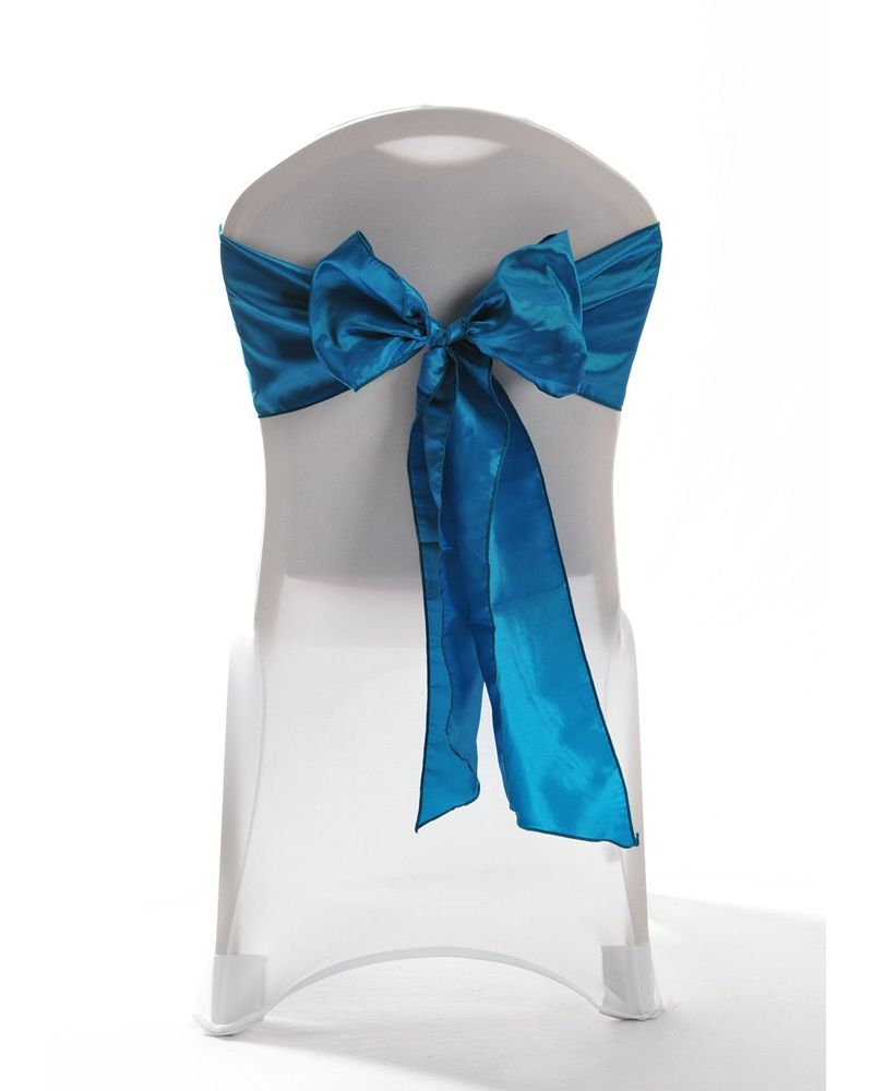 "Teal Taffeta Wedding Chair Cover Sashes 8"" x 108"""