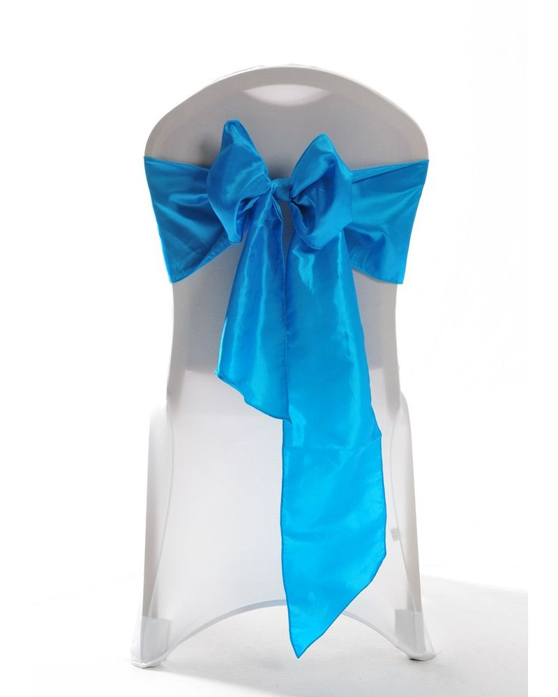 Turquoise Taffeta Wedding Chair Cover Sashes