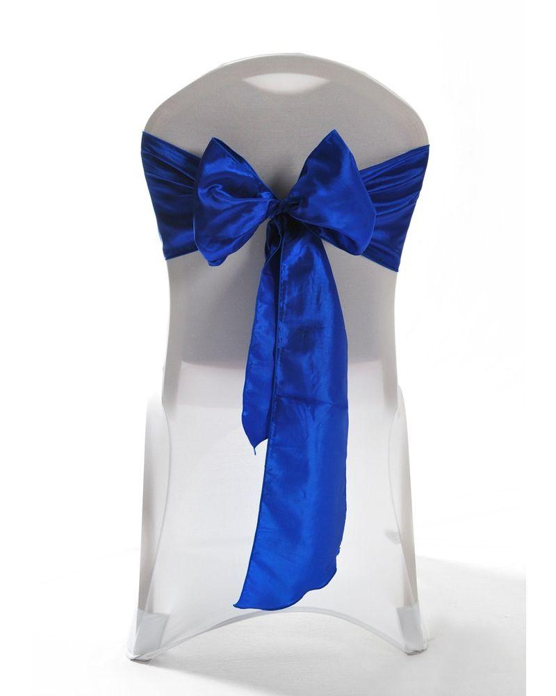 "Royal Blue Taffeta Wedding Chair Cover Sashes 8"" x 108"""