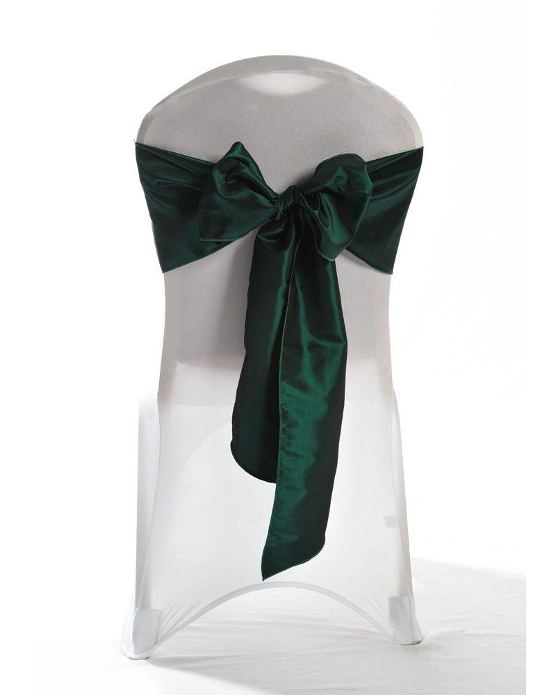 "Hunter Green Taffeta Wedding Chair Cover Sashes 8"" x 108"""