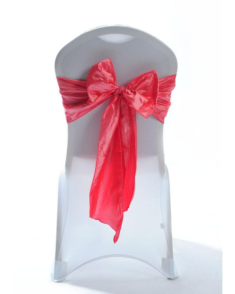 """Coral Taffeta Wedding Chair Cover Sashes 8"""" x 108"""""""