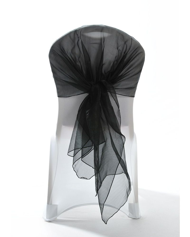 Black Crystal Organza Chair Cover Hoods Wrap 110cmx130cm