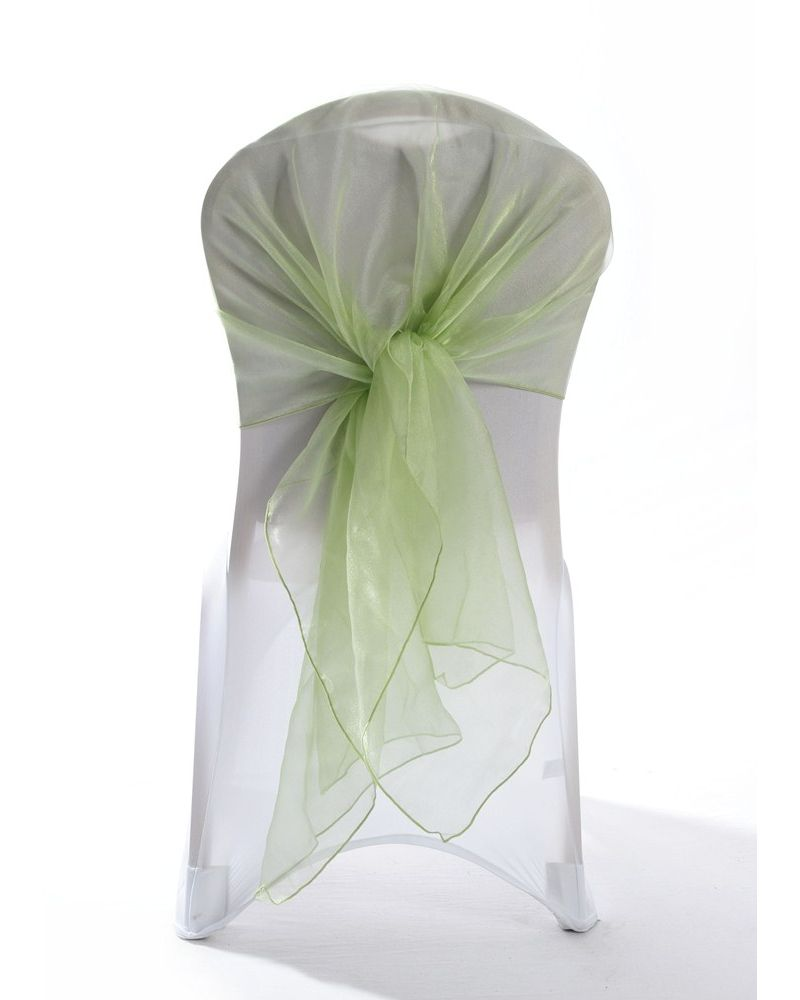 Sage Crystal Organza Chair Cover Hoods Wrap
