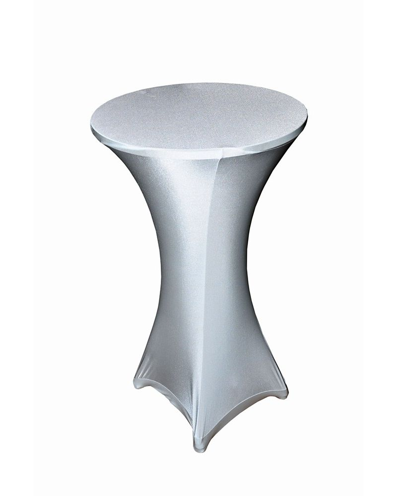 White Spandex Lycra Round Posuer Table Tablecloth Cover 60cm x 105cm