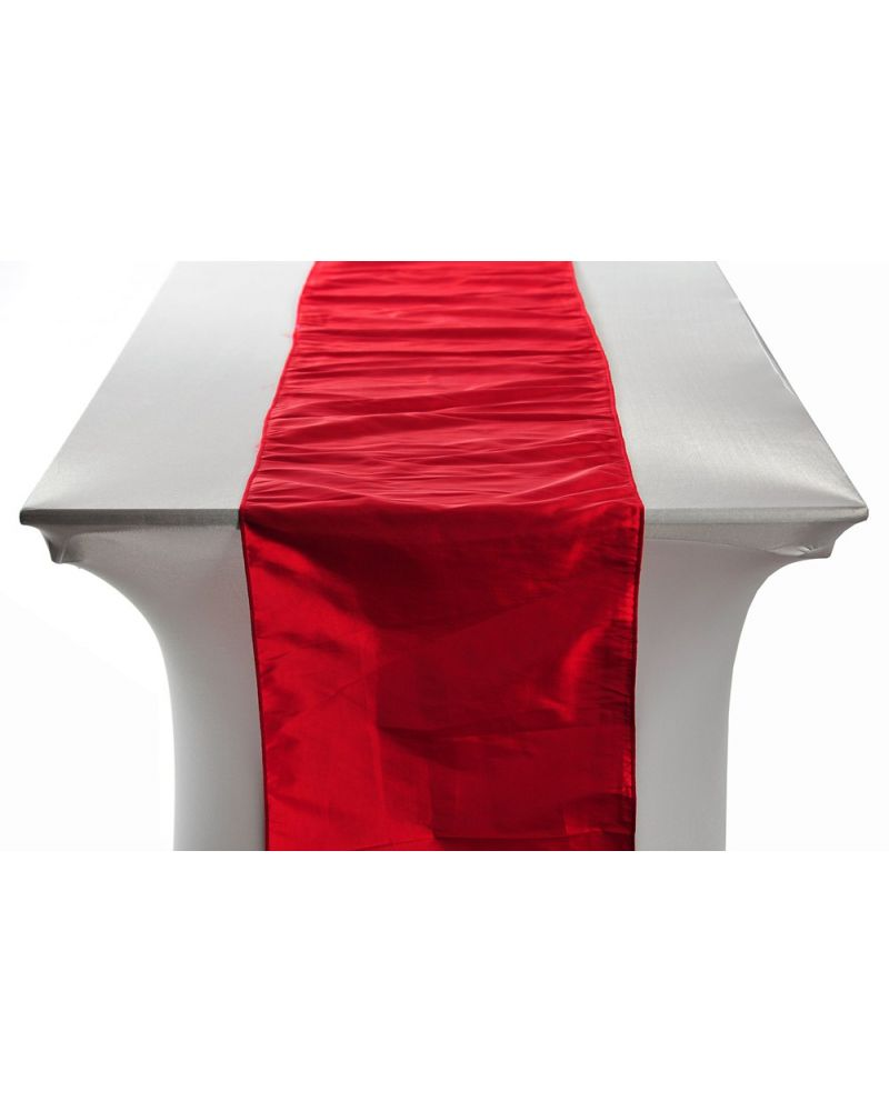 "Red Taffeta Wedding Table Runners 14""x108"""