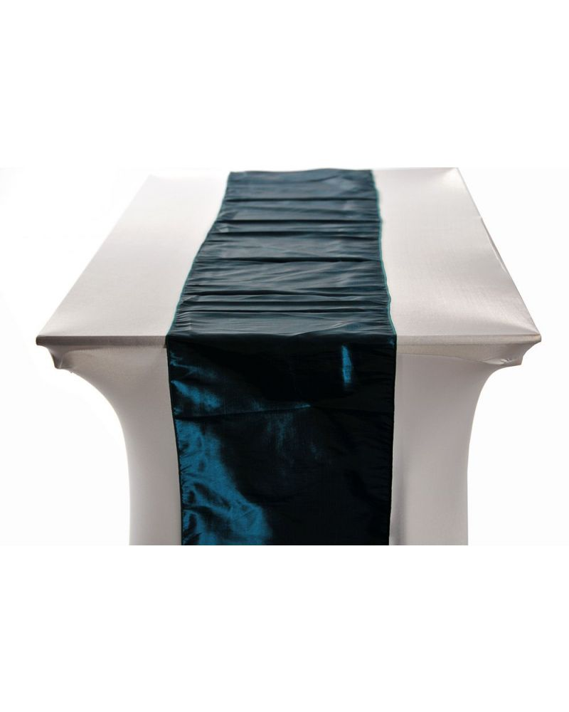 "Teal Brown Taffeta Table Wedding Runners 14""x108"""