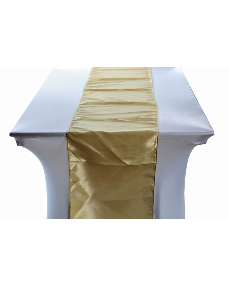 "Antique Gold Taffeta Wedding Table Runners 14""x108"""