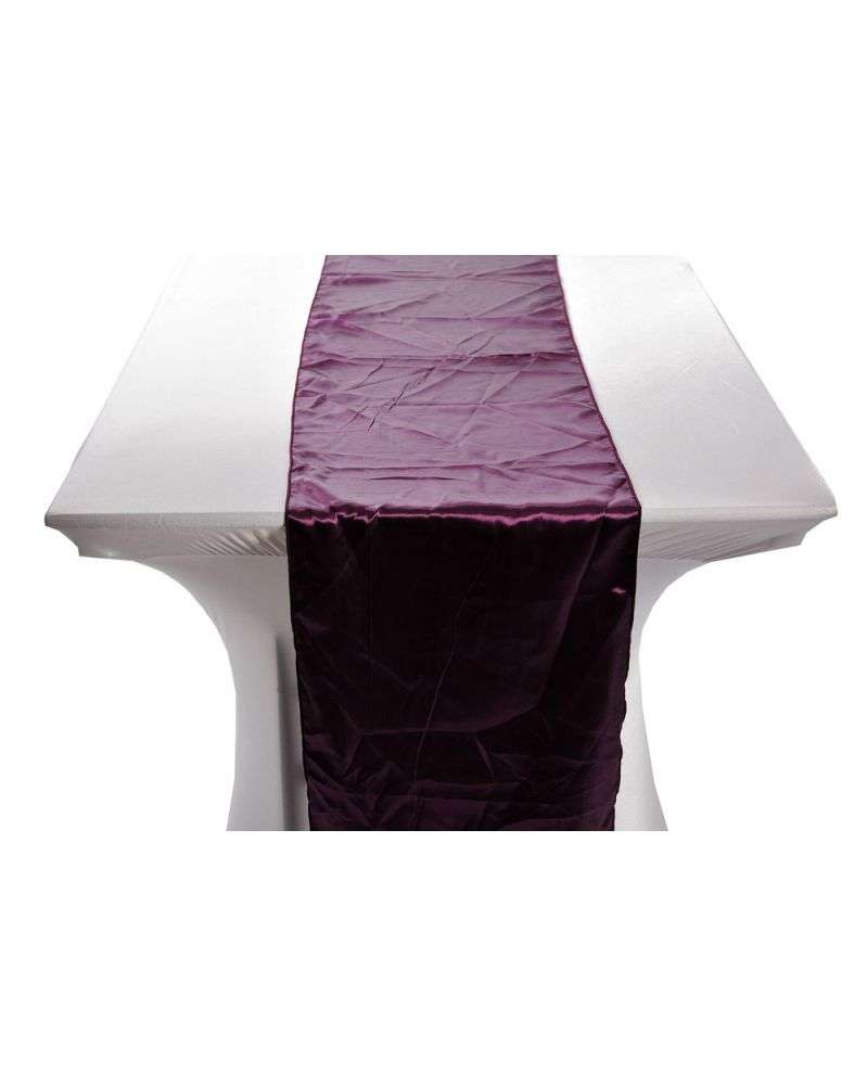 "Plum Satin Wedding Table Runners 14""x108"""