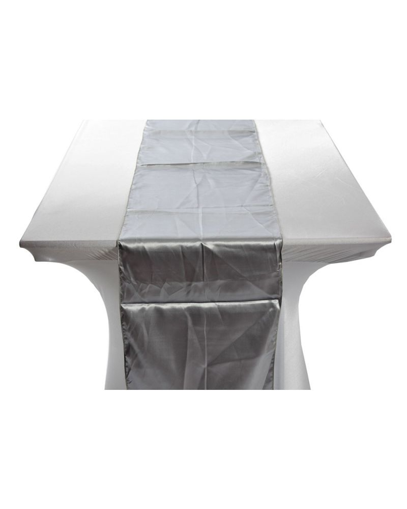 "Silver Satin Wedding Table Runners 14""x108"""