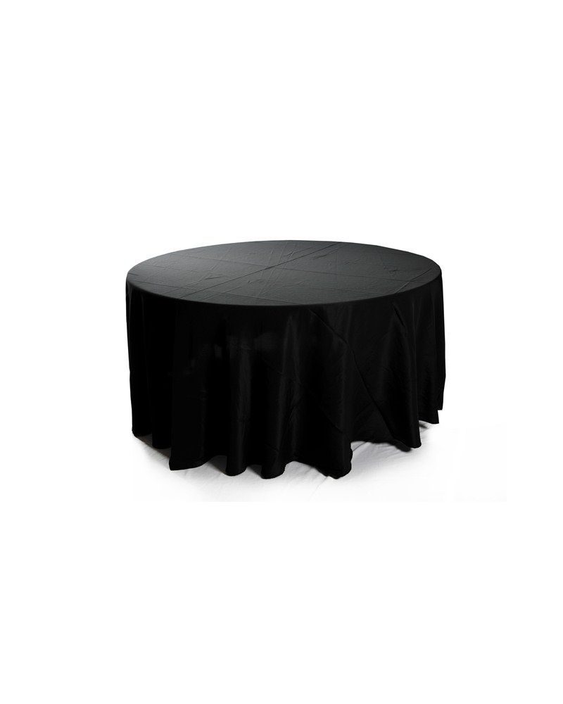 120 Inch Black Round Banqueting Wedding Tablecloth
