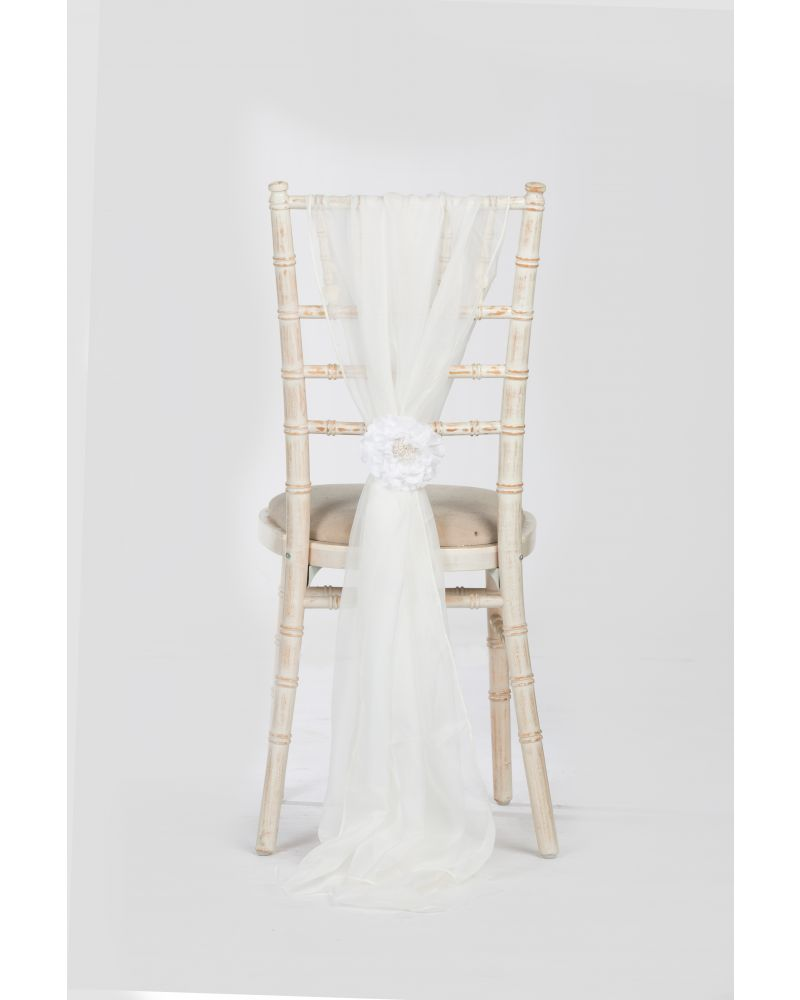 Ivory Chiavari Chair Cover Wedding Voile Drops