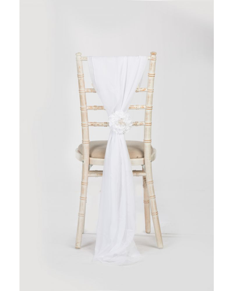 White Chiavari Chair Cover Wedding Voile Drops