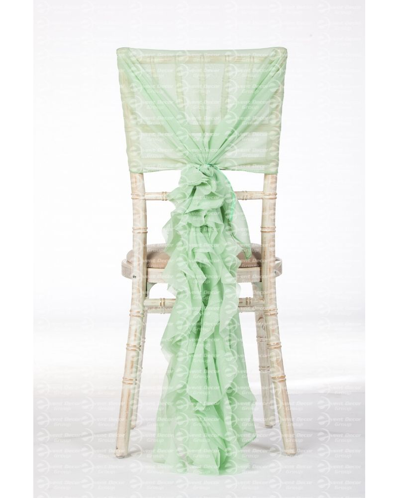 Pale Mint Green Chiffon Fancy Chiavari Chair Wedding Hood & Ruffle Tail Set