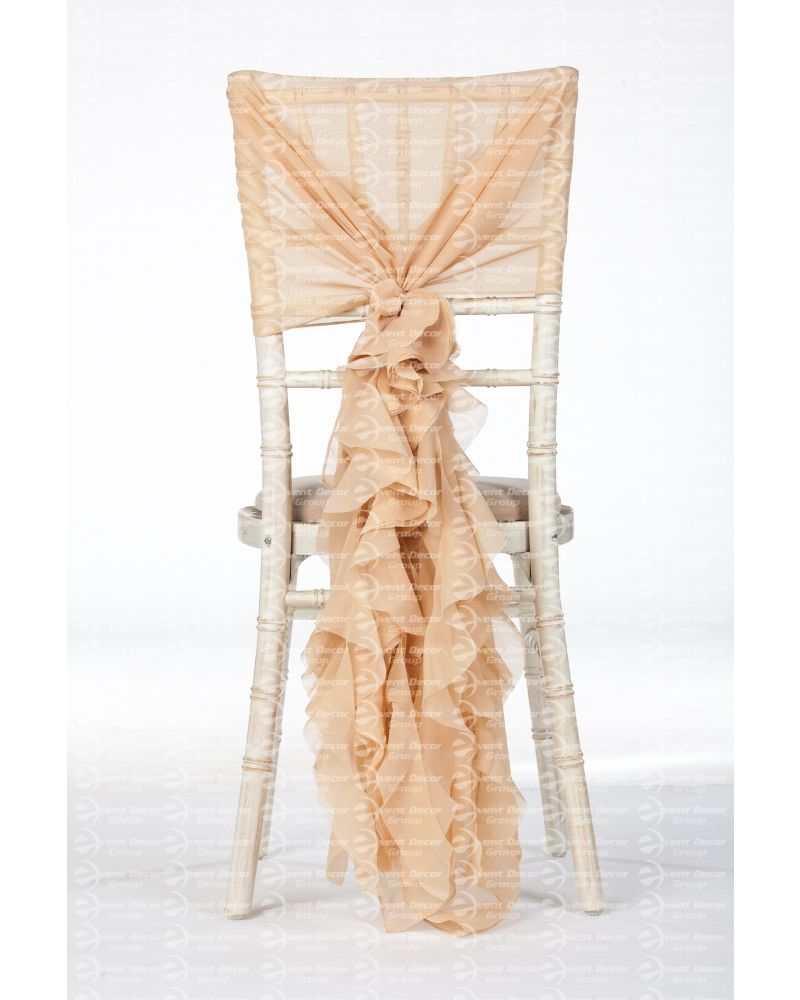Champagne Gold Chiffon Fancy Chiavari Chair Wedding Hood & Ruffle Tail Set