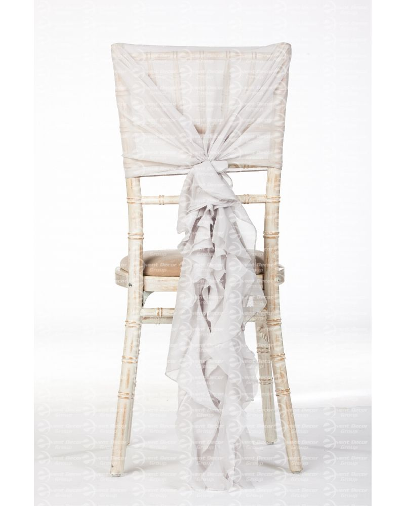 Silver Chiffon Fancy Chiavari Chair Wedding Hood & Ruffle Tail Set