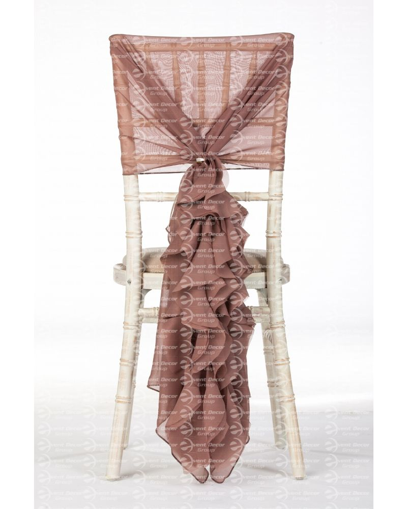 Wheat Moccha Chiffon Fancy Chiavari Chair Wedding Hood & Ruffle Tail Set