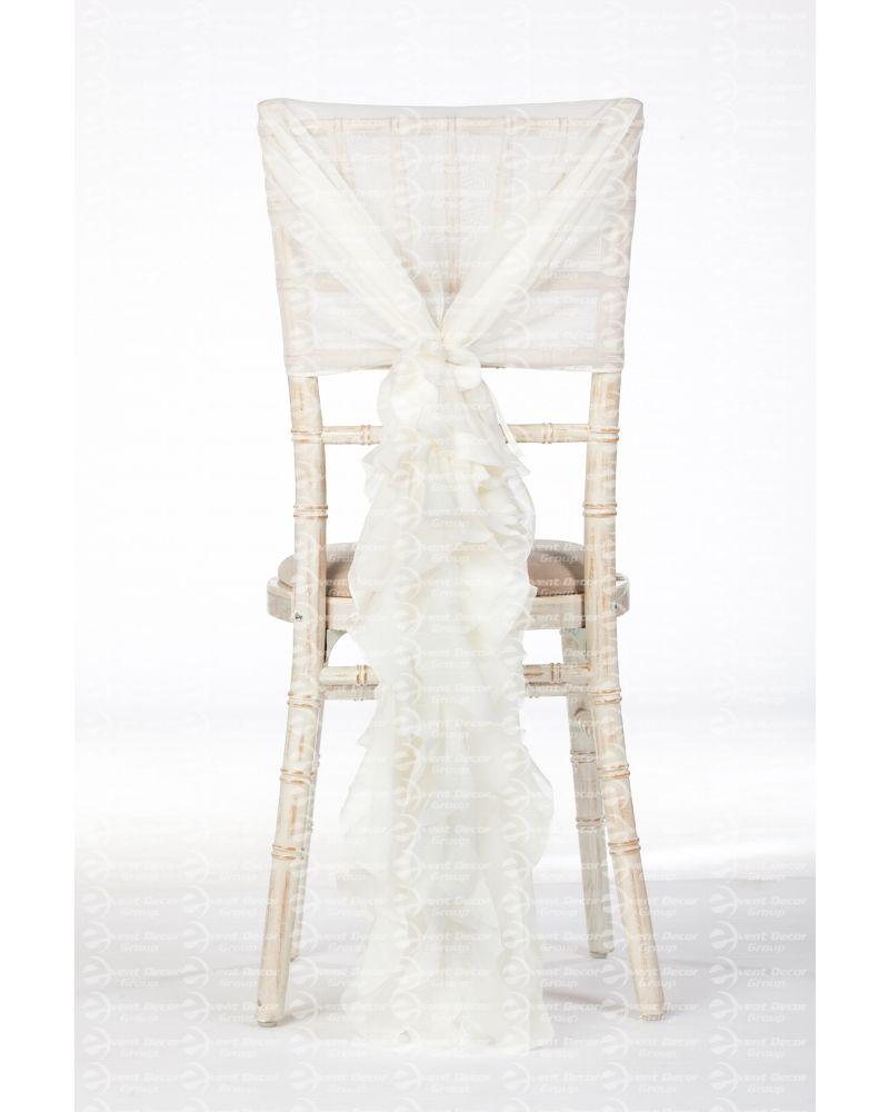 Ivory Chiffon Fancy Chiavari Chair Wedding Hood & Ruffle Tail Set