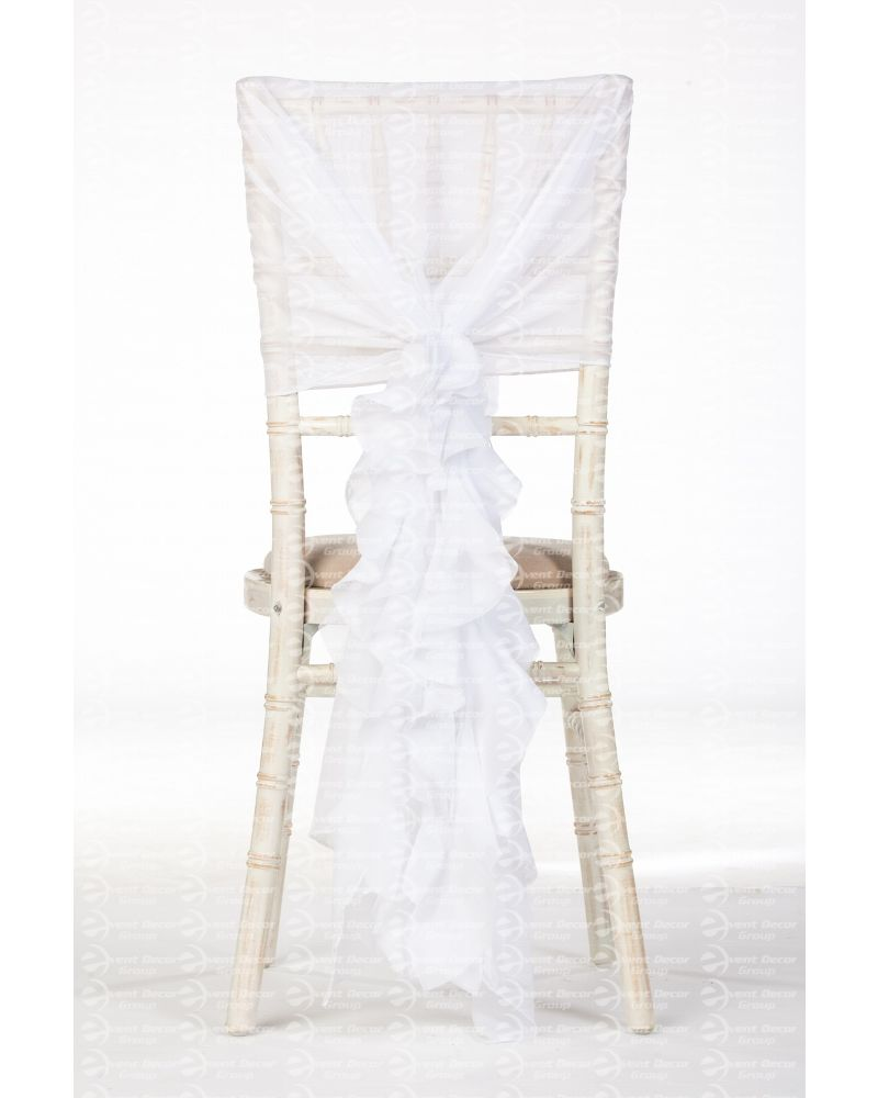White Chiffon Fancy Chiavari Chair Wedding Hood & Ruffle Tail Set