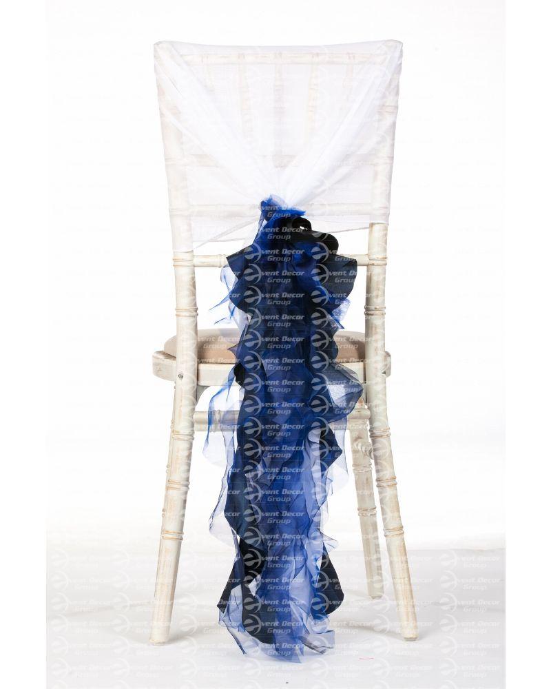 Navy Blue Organza Taffeta Mix Fancy Ruffle Chair Cover Wedding Sash Accessory