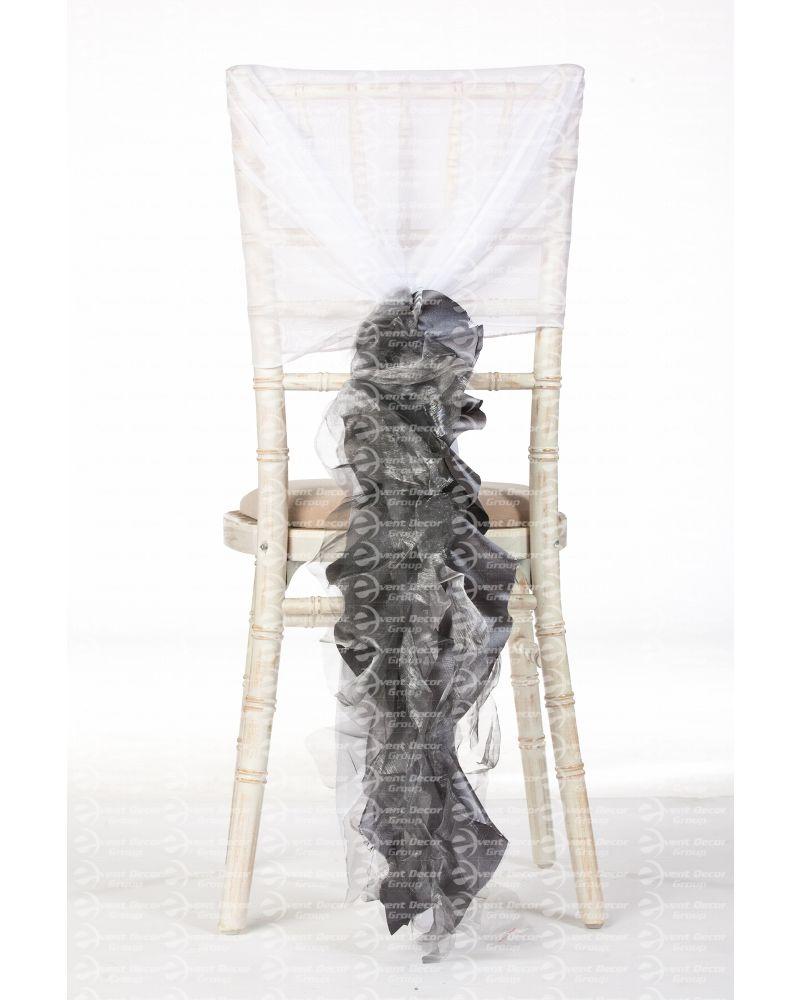 Platinum Silver Organza Taffeta Mix Fancy Ruffle Chair Cover Wedding Sash Accessory