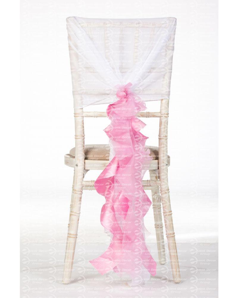 Pink Organza Taffeta Mix Fancy Ruffle Chair Cover Wedding Sash Accessory