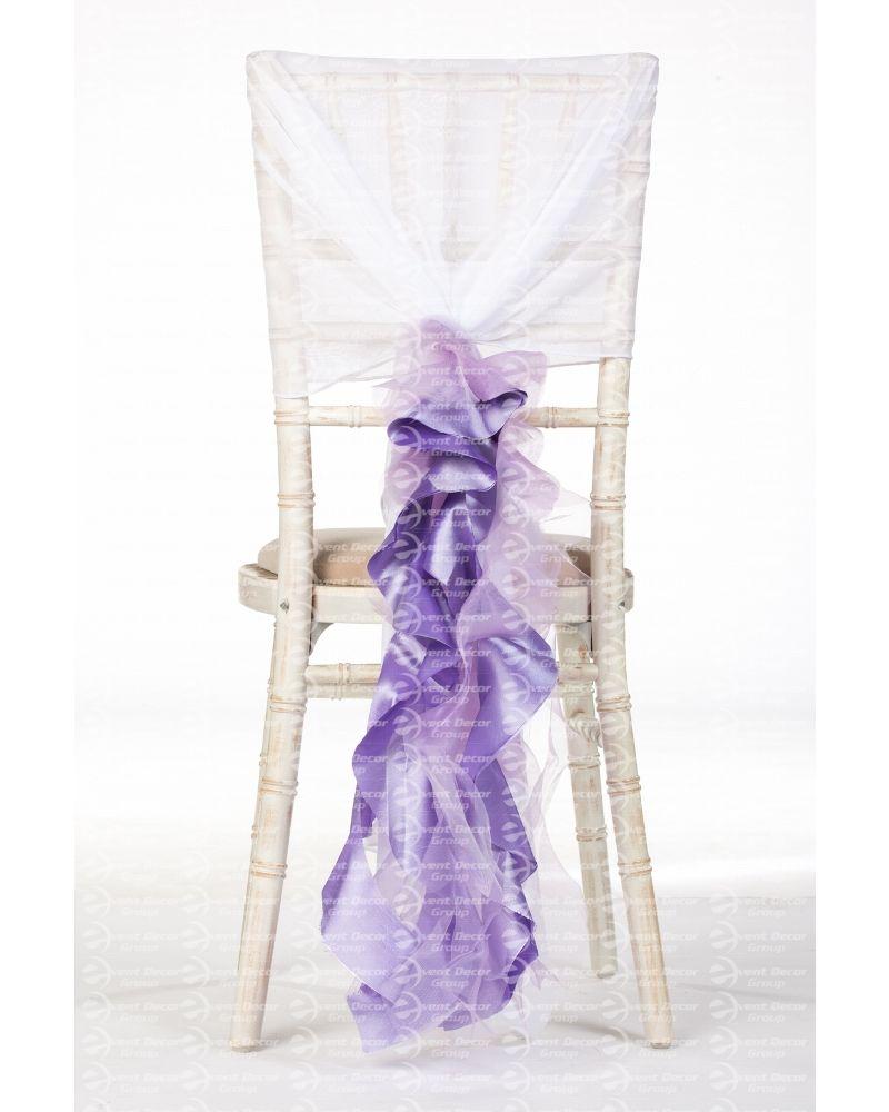 Lilac Purple Organza Taffeta Mix Fancy Ruffle Chair Cover Wedding Sash Accessory