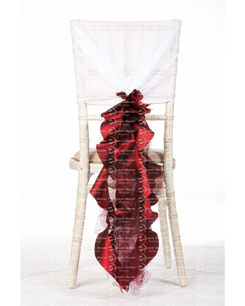Garnet Burgundy Organza Taffeta Mix Fancy Ruffle Chair Cover Wedding Sash Accessory