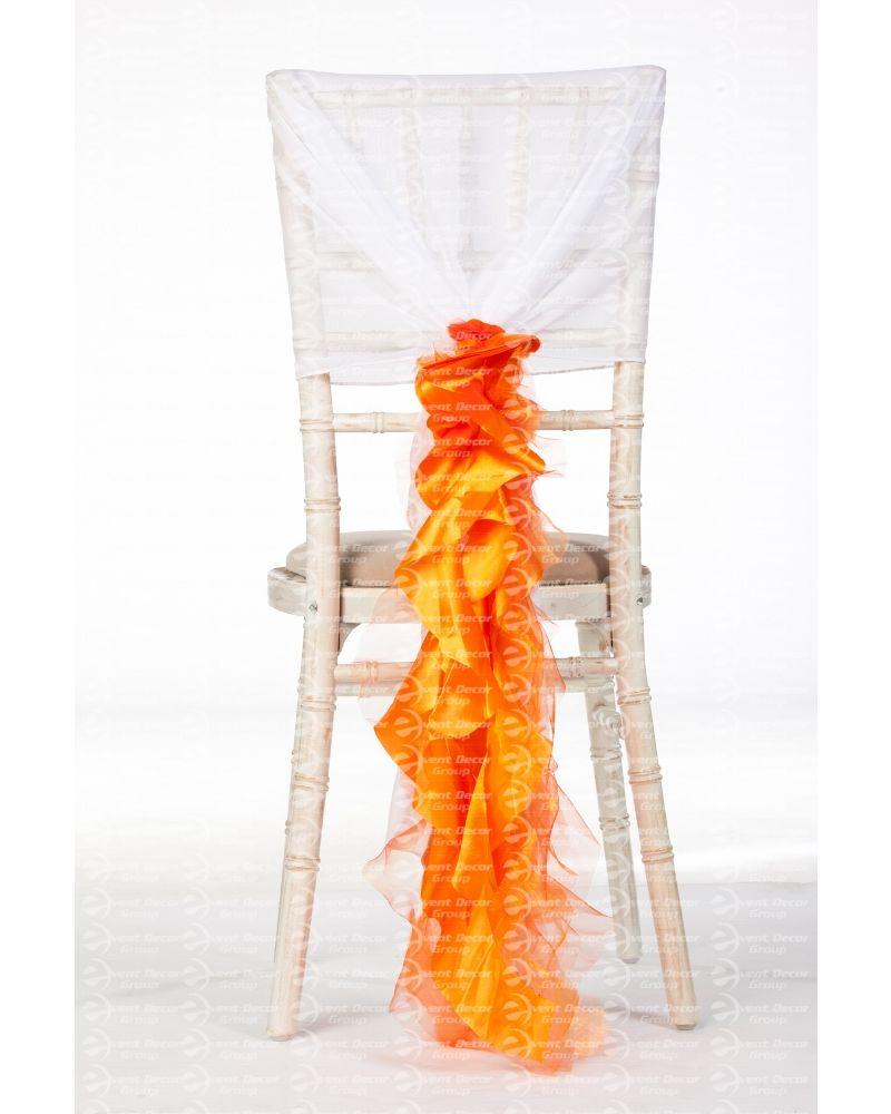 Orange Organza Taffeta Mix Fancy Ruffle Chair Cover Wedding Sash Accessory