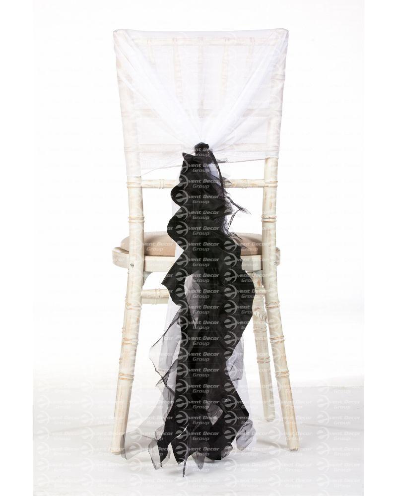 Black Organza Taffeta Mix Fancy Ruffle Chair Cover Wedding Sash Accessory