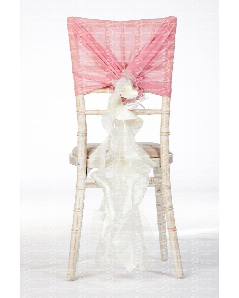 Ivory Organza Taffeta Mix Fancy Ruffle Chair Cover Wedding Sash Accessory