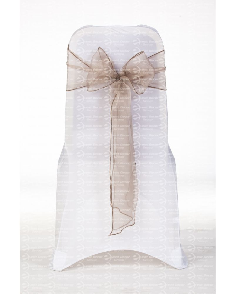 "Wheat Moccha Crystal Organza Chair Cover Sashes 8"" x 108"""