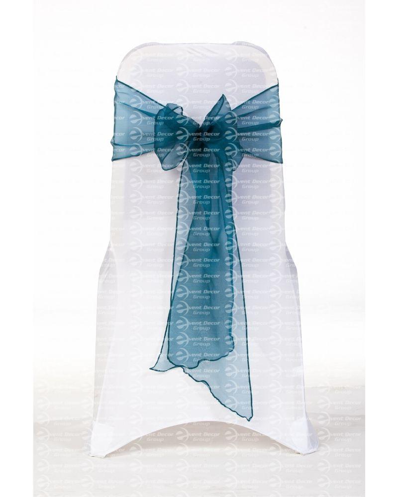 "Dark Teal Crystal Organza Chair Cover Sashes 8"" x 108"""