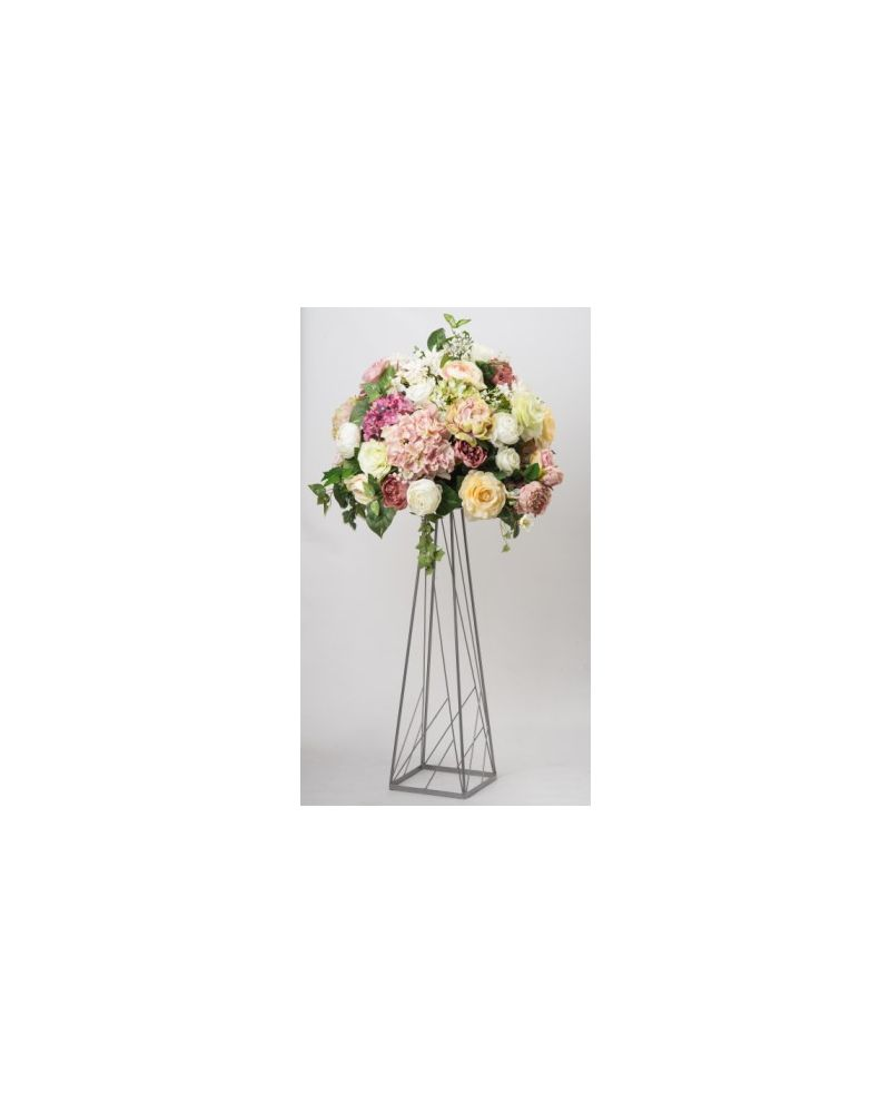 80cm Geometric Silver Trapezoid Metal Flower Stand
