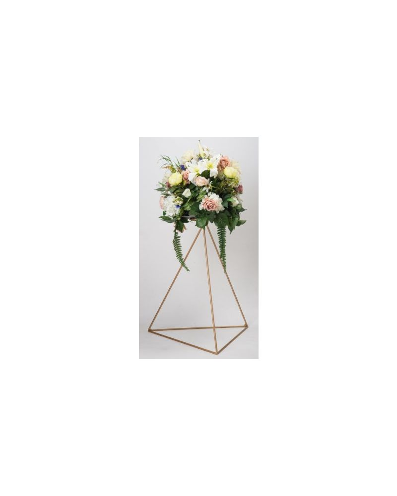 Gold Metal Triangle Flower Stand 60cm Tripod with round flat top