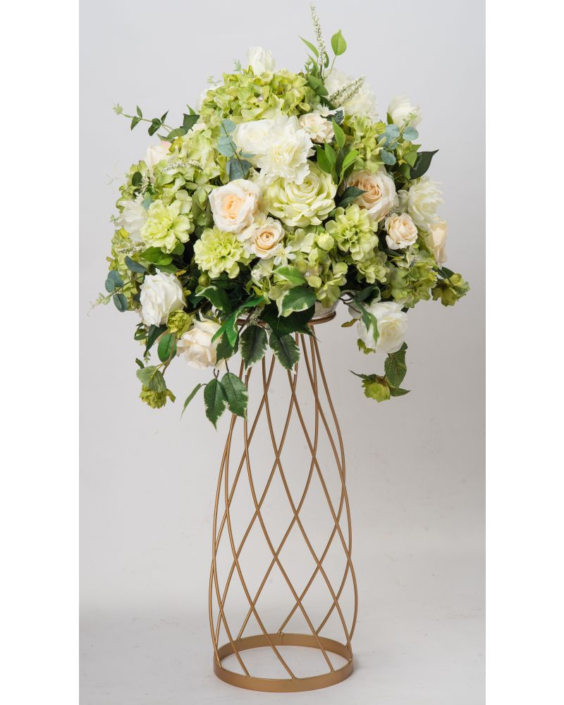 80cm Geometric Gold Twirling Metal Flower Stand (V2)