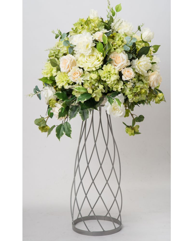 80cm Geometric Silver Twirling Metal Flower Stand (V2)